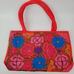 Hand embroidered floral red beach boho handbag